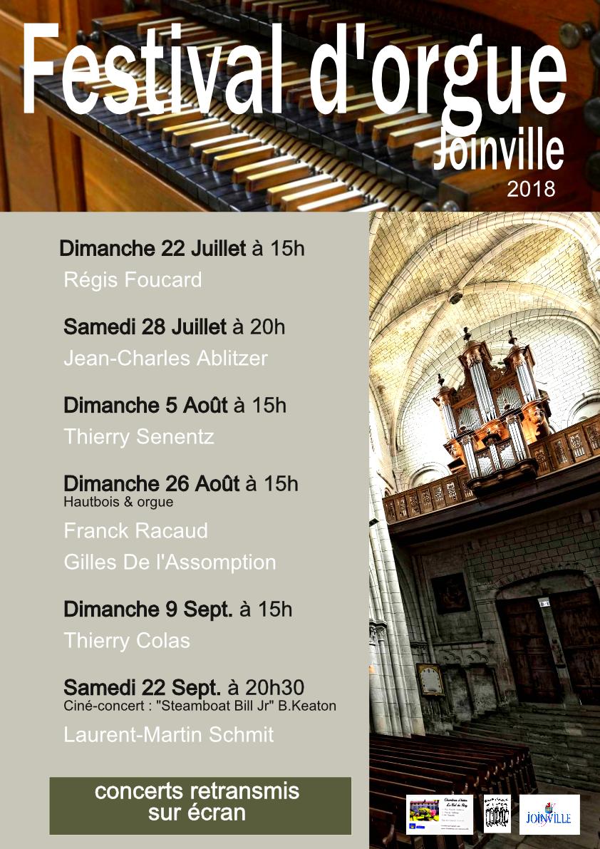 Affiche du festival d'orgue de Joinville 2018